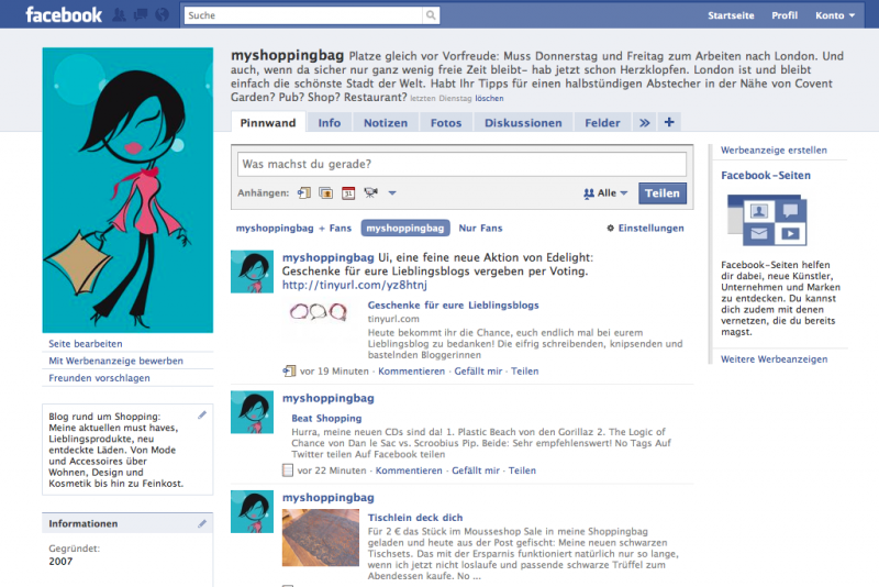 facebook Fanpage für myshoppingbag