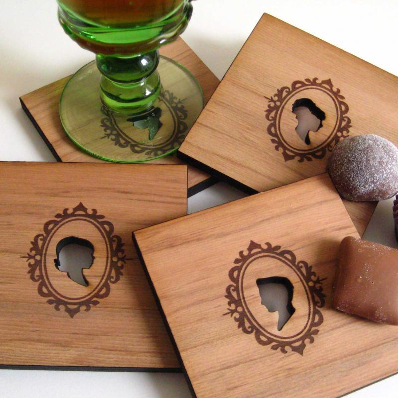 scherenschnitt untersetzer myshoppingbag. Black Bedroom Furniture Sets. Home Design Ideas