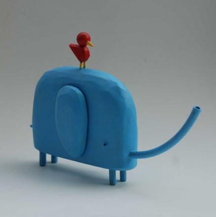 Elefant mit Vogel über bunnywithatatoobelt über Etsy