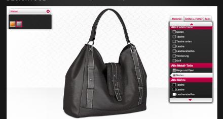 Konfiguration Handtasche bei Tanner & Tailor