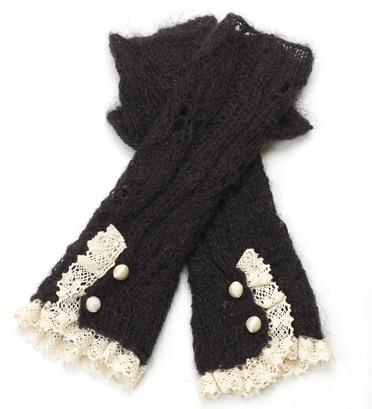 Lacy Mohair Fingerless Gloves (Grey)
