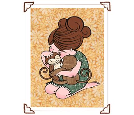 Rebecca Hahn Monkey Hug Print