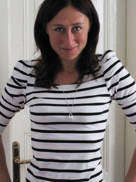 Pullover mit Streifen und Puffärmeln