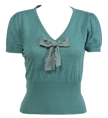 Striped Bow Top (Teal)