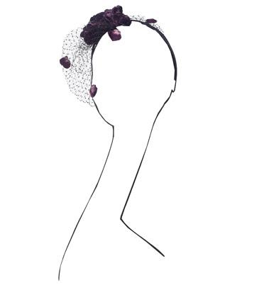 Velvet Flower Headband by Ophelie (Eggplant)